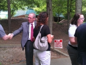 Dan Nagle Talks to Voters at Early Voting